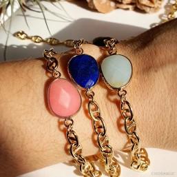 bracelet fantaisie femme chaine plaque or marine et pierre naturelle facette lapis lazuli
