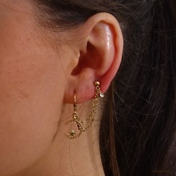This earring is plated real gold 24 carats pendant with zircon for two holes