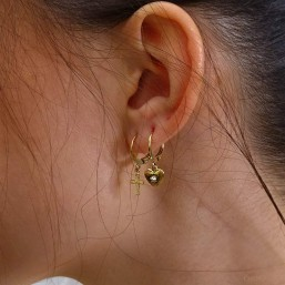 Earring heart size : 8mm This earring is plated real gold 24 carats