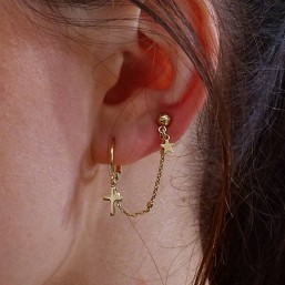 hoops earring for two holes gold plated and cross pendant
