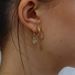 This earring is plated real gold 24 carats pendant with zircon Our jewels are nickel free