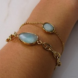 bracelet fantaisie femme chaine plaque or marine et pierre naturelle facette amazonite