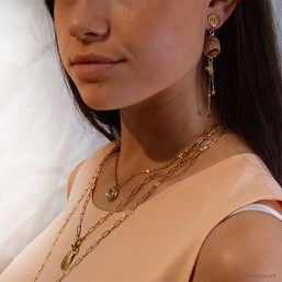 pendant earring gold plated and gemstone made in france fancy jewellery