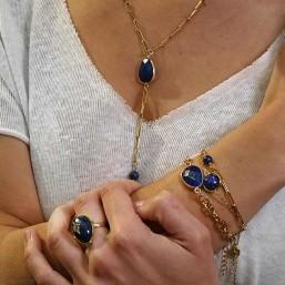 necklace gold plated with gemstone-lapis lazuli, amazonite, dalmatian jasper, pink jade, picture jasper
