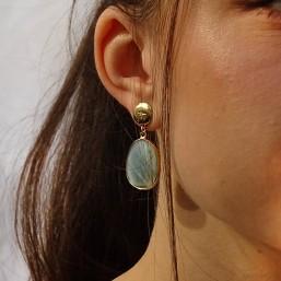 gemstone earring size 4cm-lapis lazuli, labradorite, rose quartz, dalmatian jasper