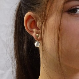 earrings with White Mother Of Pearl, Gold Plated Metal, CHORANGE French Designer Fashion Jewelry in France.