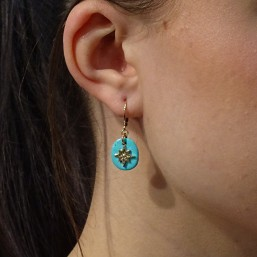 This earring is plated real gold 24 carats pendant with turquoise gemstone