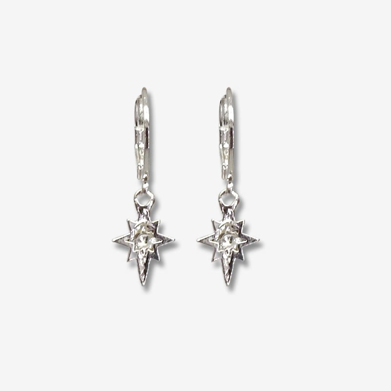 hoop earring silver plated with a star pendant