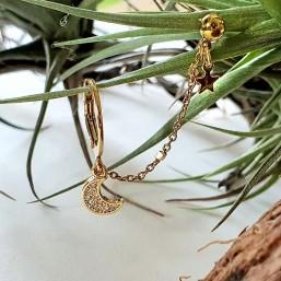 Boucle d'oreille à chaîne creole plaqué or fin 24 carats