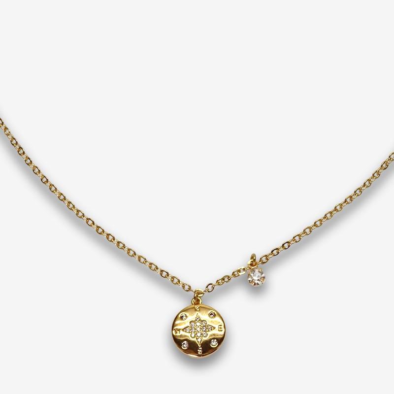collier fantaisie en métal doré à l'or fin et zircons