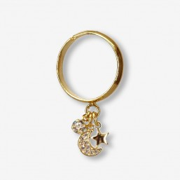 adjustable gold plated finger ring with a moon