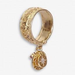 bague ethnique fantaisie avec pampilles en métal plaquée or