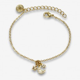 fancy bracelets gold plated in France with pendants and zircon