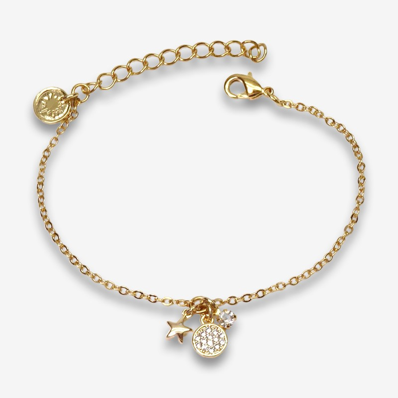 fancy bracelet with pendants gold plated and made in France by Chorange