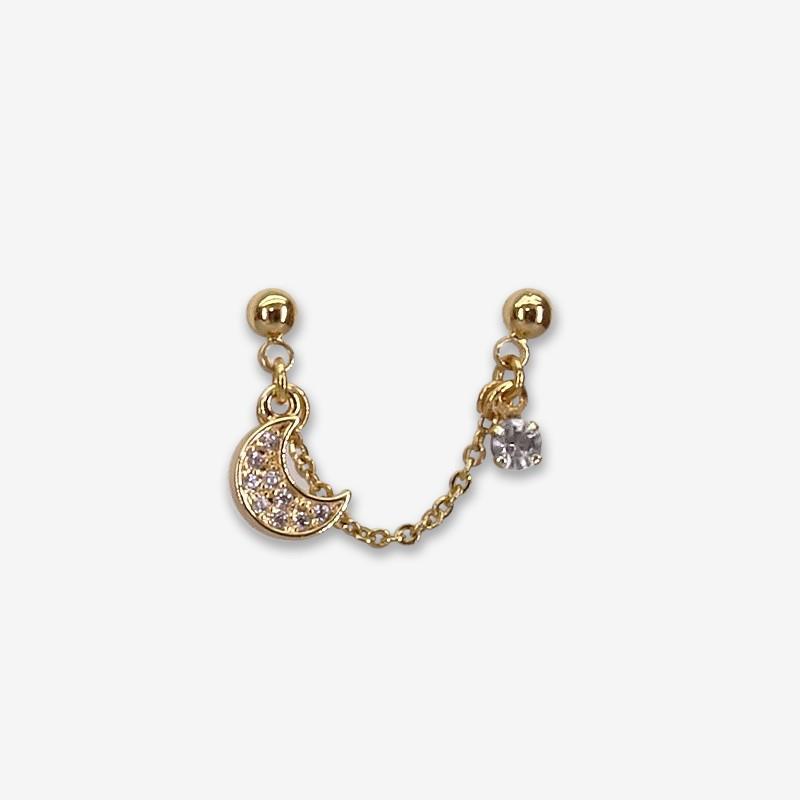 boucle d'oreille plaqué or reliée par une chaine - bijou de créateur fabriqué en France