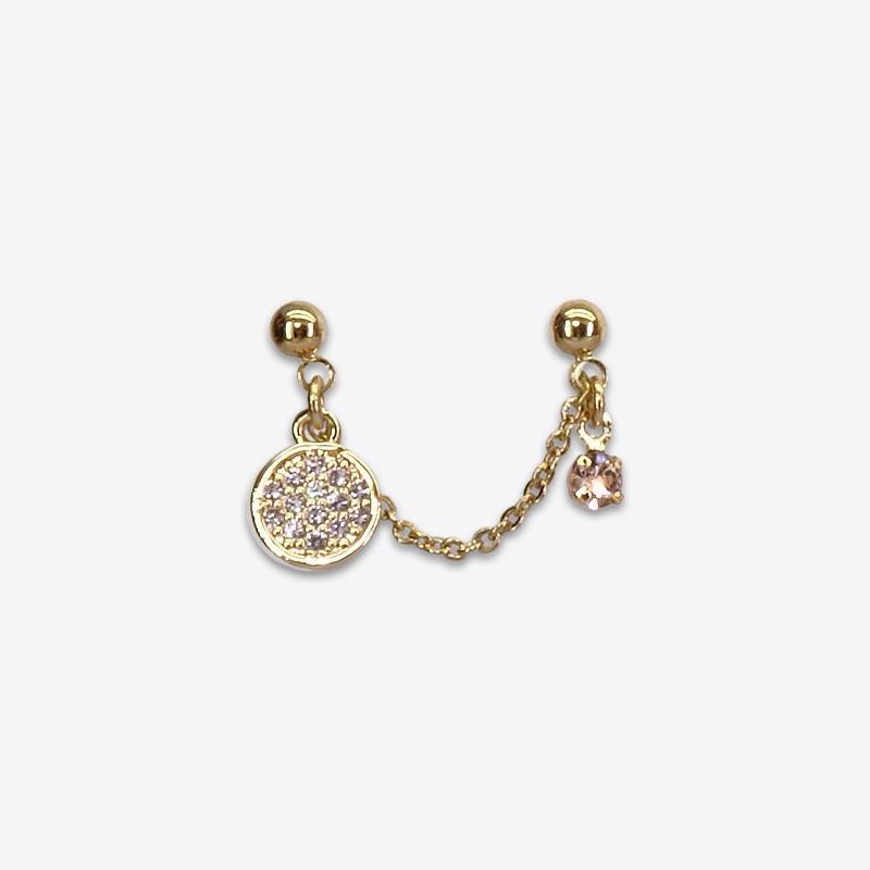 boucle d'oreille fantaisie plaqué or reliée par une chaine - bijou de créateur fabriqué en France