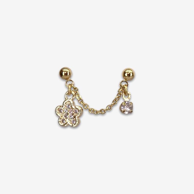oucle d'oreille plaqué or reliée par une chaine - bijou de créateur fabriqué en France