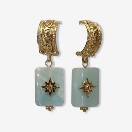 hoops earrings with a gemstone pendant and metal fine gild  plated in France