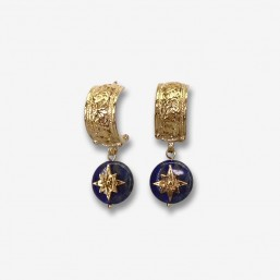 hoops earrings with lapis lazuli gold plated metal or silver- made in France by Chorange french designer of fashion jewels