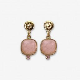 boucle d'oreille fantaisie pendante avec un cabochon en pierre naturelle quartz rose monté sur métal argent