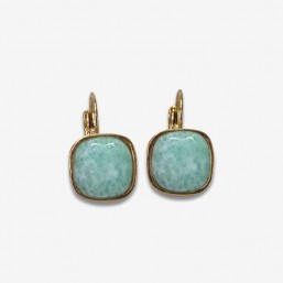 sleeper earrings with a square gemstone cabochon