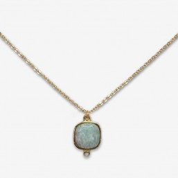 collier tour de cou plaqué or fin avec amazonite pierre fine fantaisie Chorange