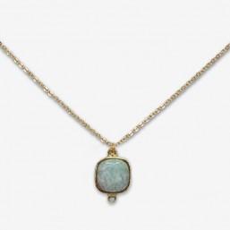 gold or silver gemstone necklace made in france whith amazonite,sodalite,rose quartz,feldspar by Chorange