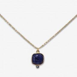 gold gemstone necklace made in france whith amazonite,sodalite,rose quartz,feldspar by Chorange