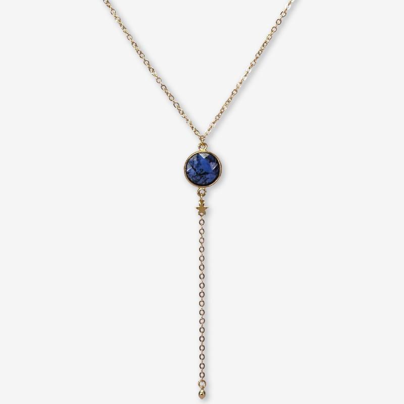 collier tour de cou plaqué or fin avec sodalite pierre fine fantaisie Chorange