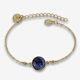 bracelet fantaisie plaqué or ou argent avec un cabochon en pierre naturelle sodalite