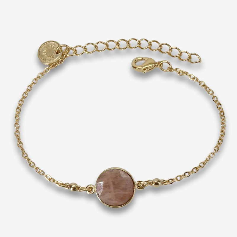 fancy bracelet plated gold or silver with a gemstone cabochon-made in France