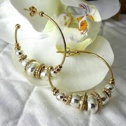 créoles fantaisies en métal argent et or fabriqué en france - bijou de créateur