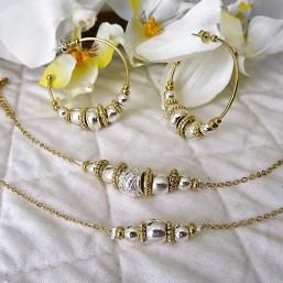 bracelets et créoles fantaisies en métal argent et or fabriqué en france - bijou de créateur