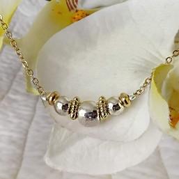 collier fantaisie plaqué or et argent sur chaine en métal fabriqué en France par chorange