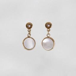 Boucles d'oreilles en métal avec pendentif en nacre naturelle