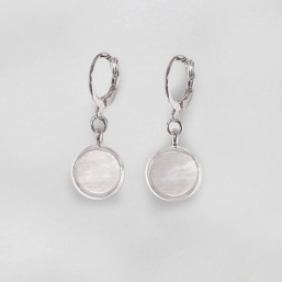 Earrings with White Mother Of Pearl, Silver Plated Metal, CHORANGE French Designer Fashion Jewelry in Cannes.