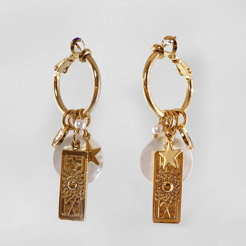 Creole Earrings with White Mother Of Pearl, Gold Plated Metal, CHORANGE French Designer Fashion Jewelry in Cannes.