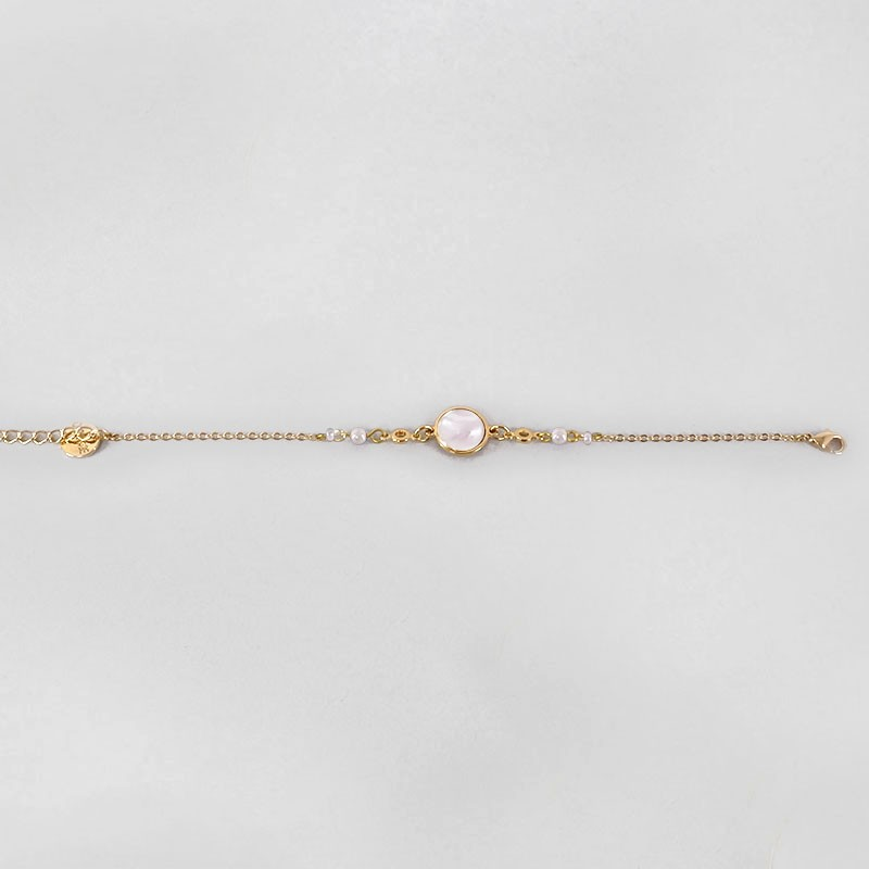 Bracelet with White Mother Of Pearl, Gold Plated Metal, CHORANGE French Designer Fashion Jewelry in Cannes