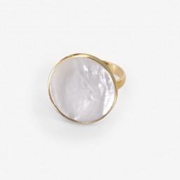 bague réglable, nacre et doré par Chorange créateur de bijoux fantaisie -made in France