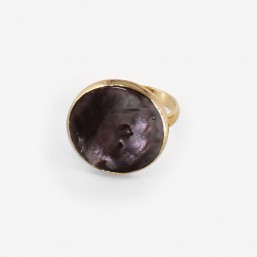 ajustable ring with mother of pearl, Made In France. CHORANGE French Designer Fashion Jewelry. Nickel Free.