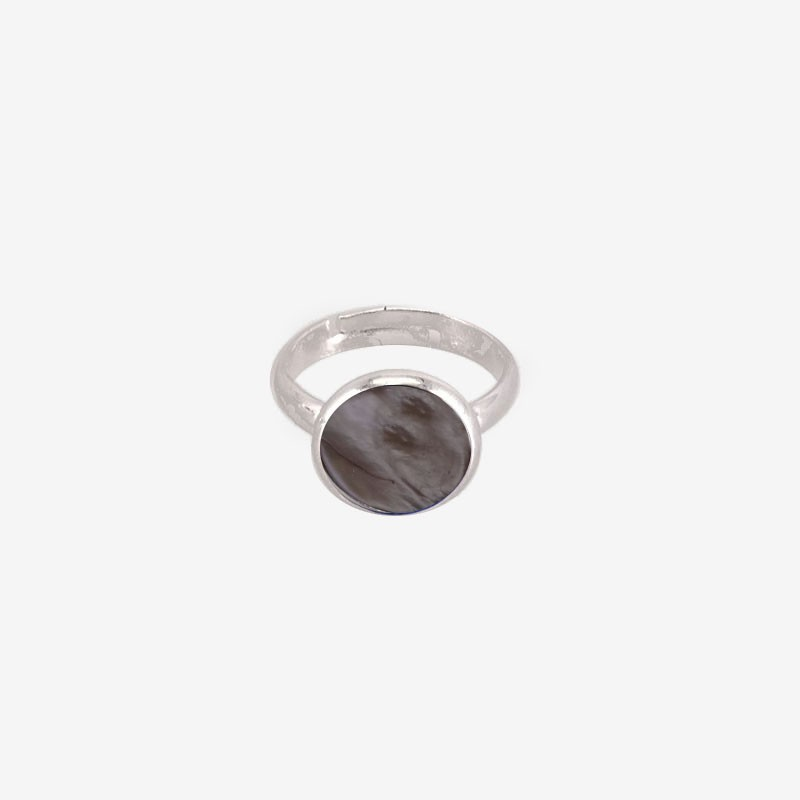 adjustable finger Ring with Grey Mother Of Pearl, Silver Plated Metal, CHORANGE French Designer Fashion Jewelry in Cannes.