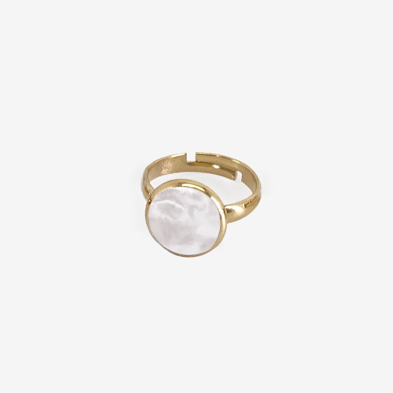 Ring with White Mother Of Pearl, Gold Plated Metal, CHORANGE French Designer Fashion Jewelry in Cannes.