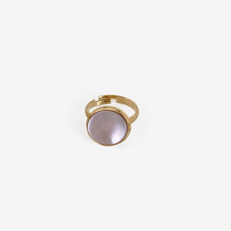 Ring with White Mother Of Pearl, Gold Plated Metal, CHORANGE French Designer of costume Jewelry in Cannes.