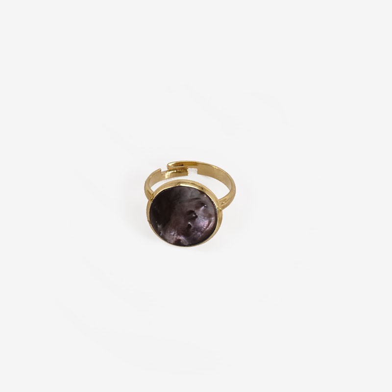Ring with Grey Mother Of Pearl, Gold Plated Metal, CHORANGE French Designer costume Jewelry in Cannes.