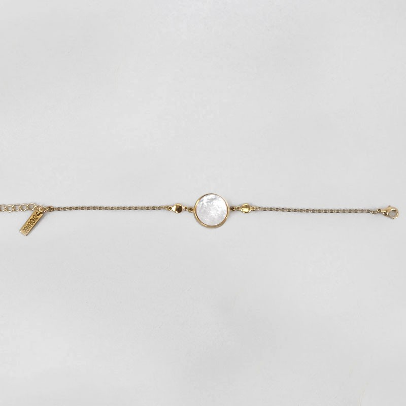 Bracelet with White Mother Of Pearl, Gold Plated Metal, CHORANGE French Designer Fashion Jewelry in Cannes.