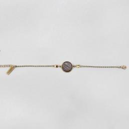 Bracelet en nacre grise, métal plaqué or fin 24 cts, CHORANGE Créateur Bijoux Fantaisie à Cannes (France).