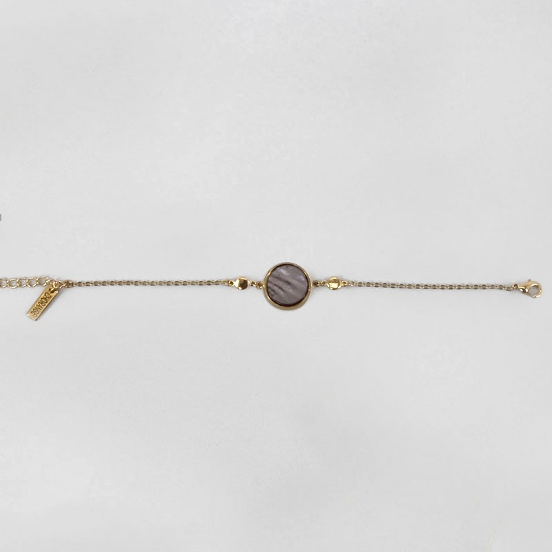 Bracelet with Gery Mother Of Pearl, Gold Plated Metal, CHORANGE French Designer Fashion Jewelry in Cannes.