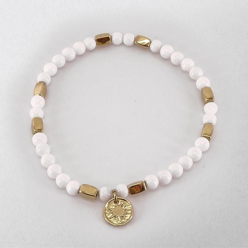Bracelet élastique en nacre blanche, métal doré or fin 24cts, CHORANGE Créateur Bijoux à Cannes