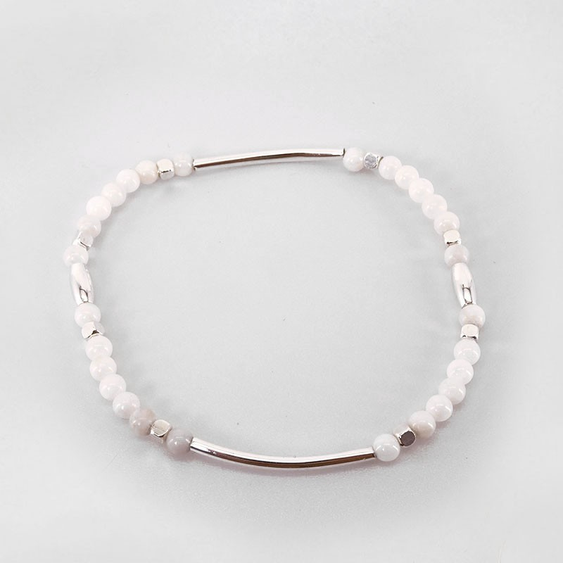 Elastic Bracelet with White Mother Of Pearl, Silver Plated Metal, CHORANGE French Designer Fashion Jewelry in Cannes.