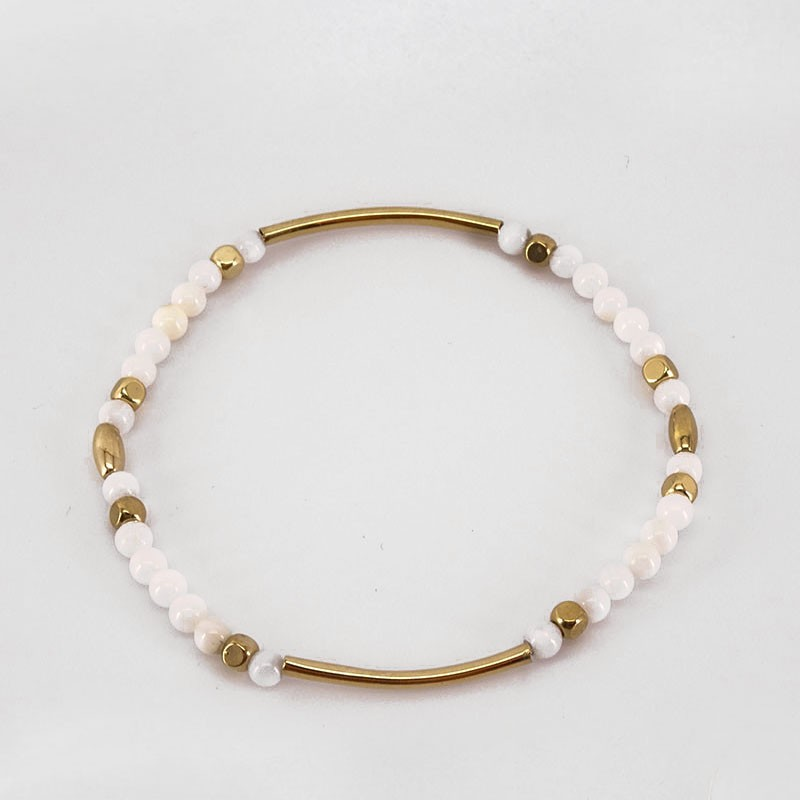 Elastic Bracelet with White Mother Of Pearl, Gold Plated Metal, CHORANGE French Designer Fashion Jewelry in Cannes.